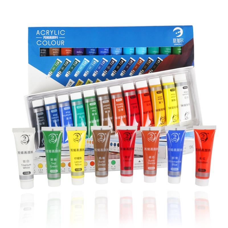 Resistente al agua 24 colores 15ML tubo de pintura acrílica conjunto de pintura de vidrio de uñas de color pintura de arte para tela herramientas de dibujo para niños DIY