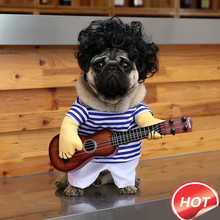 Pet Dog Small Dog Guitar Player Transformation Outfit Cute Funny Explosion Head Take Guitar Costume Funny Playing Guitar Clothes