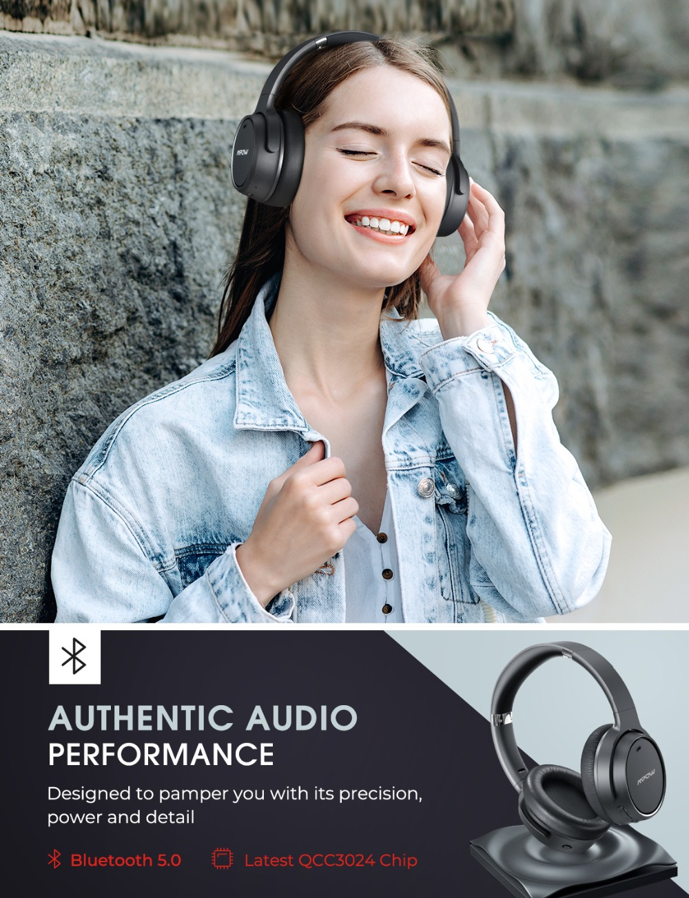 Mpow H19 Wireless Headphones ANC Bluetooth 5.0 Headphone 30H Playing Time Active Noise Cancelling Headset Deep Bass For Computer (1)