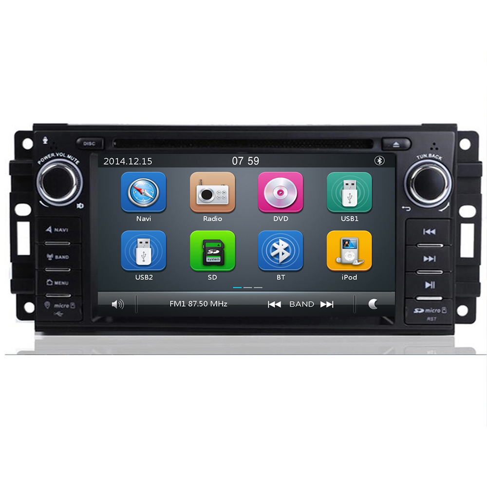 2 Din Car DVD Multimedia Player For Jeep Grand Cherokee <font><b>Chrysler</b></font> <font><b>300C</b></font> Dodge Ram Compass Patriot Sebring GPS Navigation AutoRadio image