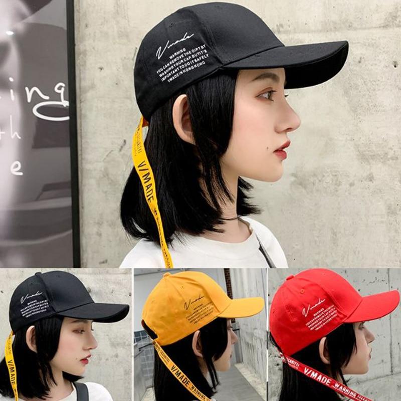 New Long Belt Baseball Hat Men's Four Seasons Trend Ribbon Cap Adjustable Cotton Letters Pattem Curling Dome Peaked Cap