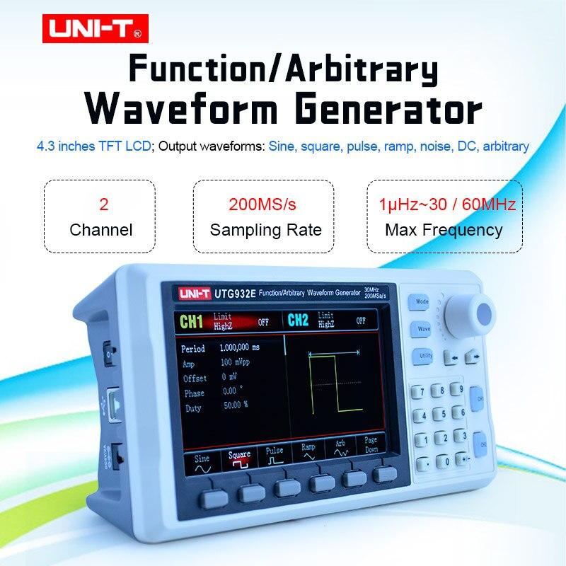 UNI-T UTG932E UTG962E генератор сигналов произвольная форма двухканального источника 30/60 МГц 200 МГц измеритель частоты