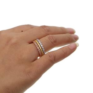 Image 5 - Трехцветные штабелируемые обручальные кольца с кубическим цирконием, набор обручальных колец с кубическим цирконием и кубическим цирконием в стиле вечности