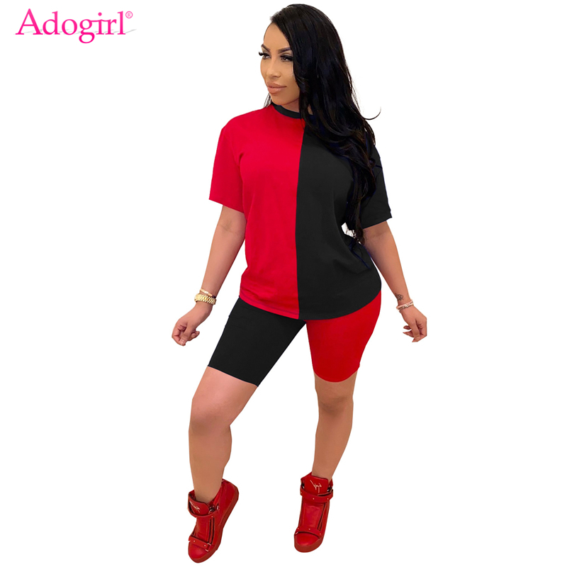 Adogirl Color Patchwork Women Casual Two Piece Set Tracksuit O Neck Short Sleeve T Shirt Top And Shorts Summer Fashion Suit
