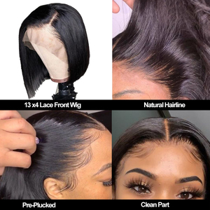 Image 3 - Short Bob Lace Frontal Wigs With Baby Hair Remy 13x4 Lace Front Human Hair Wigs Pre Plucked Straight For Black Women 150%