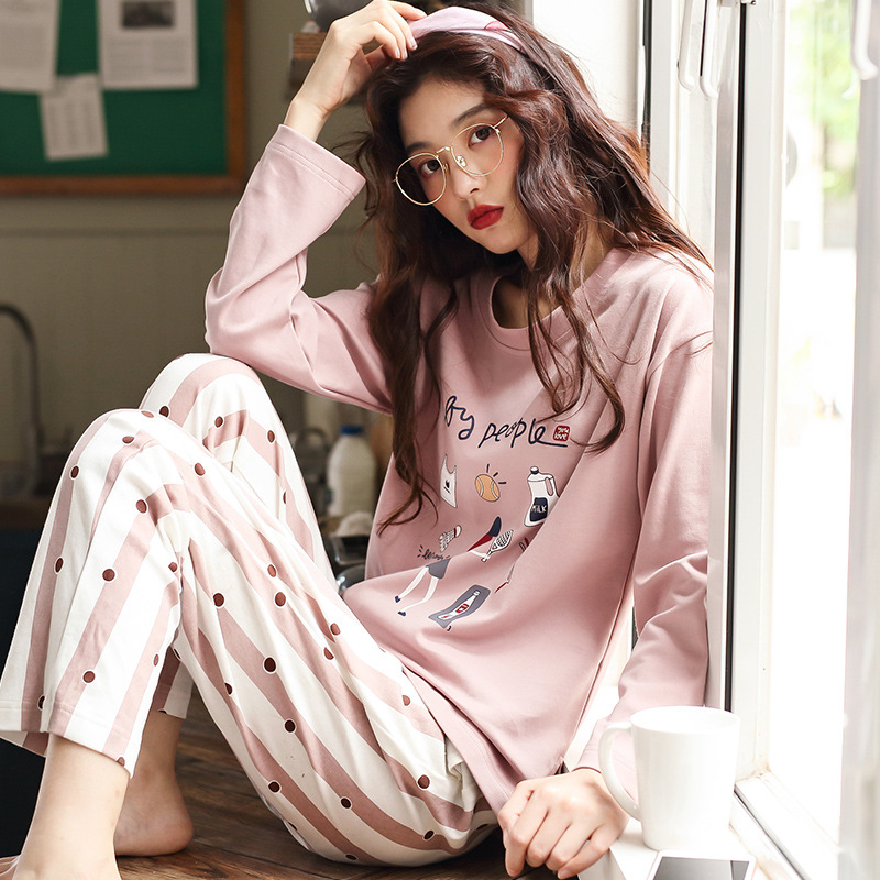 Sleepwear Cotton-Set WOMEN'S Autumn And Pink Spring Tra Hot-Selling INS Fashion