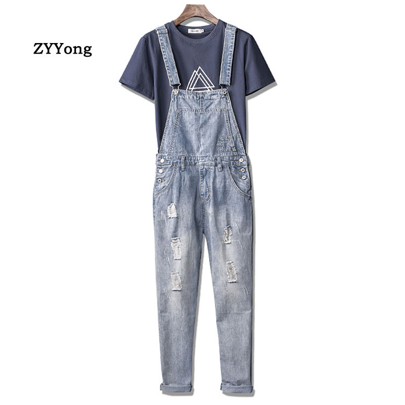 Man Ripped Jeans Bib Overalls Loose Streetwear Hip Hop Hole Denim Jumpsuits Ropa Hombre Trousers Leisure Tattered Cargo Pants
