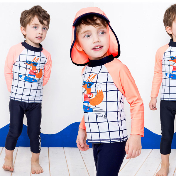KID'S Swimwear BOY'S Split Type Middle And Large Children Infant Kids Long Sleeve Pants Sun-resistant Baby Diving Suit Swimming