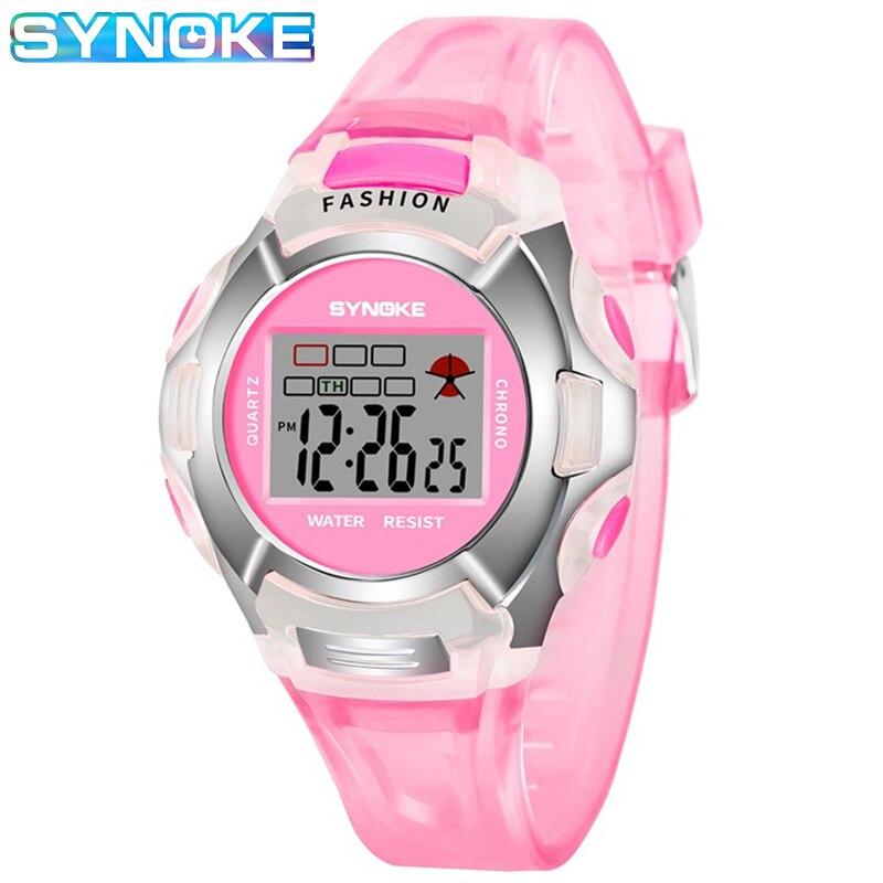 SYNOKE Дети Часы Мальчики Спорт Часы Водонепроницаемость Шок Розовый Электронный Цифровой Часы Для Девочки LED Будильник Часы Montre Enfant подарок