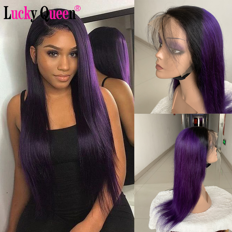 1B/Purple Color Glueless 13x4/13x6 Lace Front Human Hair Wigs Brazilian Straight Lace Front Wig Highlight Brown Remy Pre Plucked