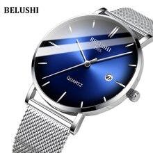 Men Watches 2019 luxury brand Belushi Steel 6mm Ultrathin Waterproof IP67 Date Quartz  Man Watch Blue elogio Masculino