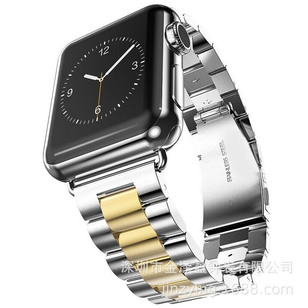 Applicable APPLE Watch Apple San Zhu Watch Strap San Zhu Solid Watch Strap Stainless Steel Watch Band Smart Watch Strap