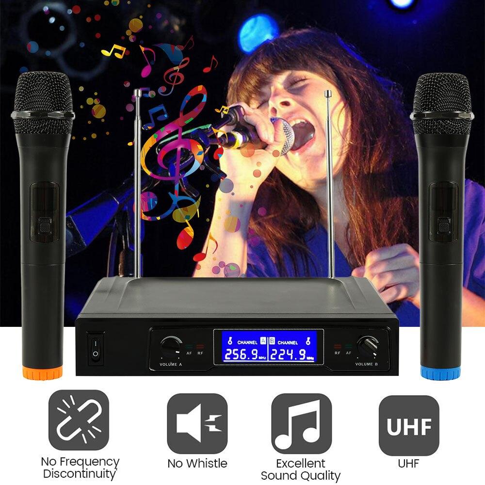Système de micro professionnel sans fil micro portatif sans fil récepteur micros karaoké avec 2 micros Microphone de Studio