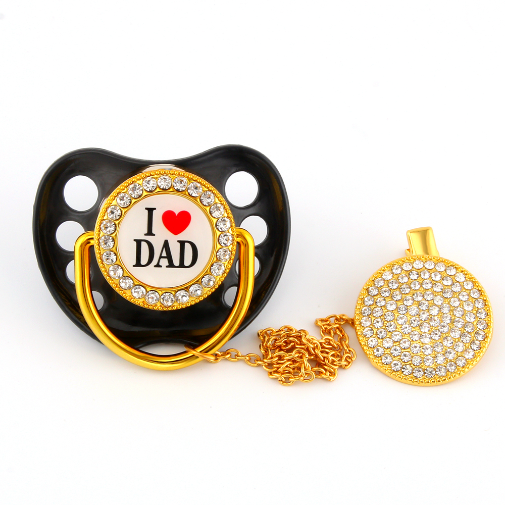 Luxury Baby Bling Bling Pacifiers Orthodontic Nipple Silicone Soother Baby Dummy Pacifier Clip I Love Mum Dad Pacifiers