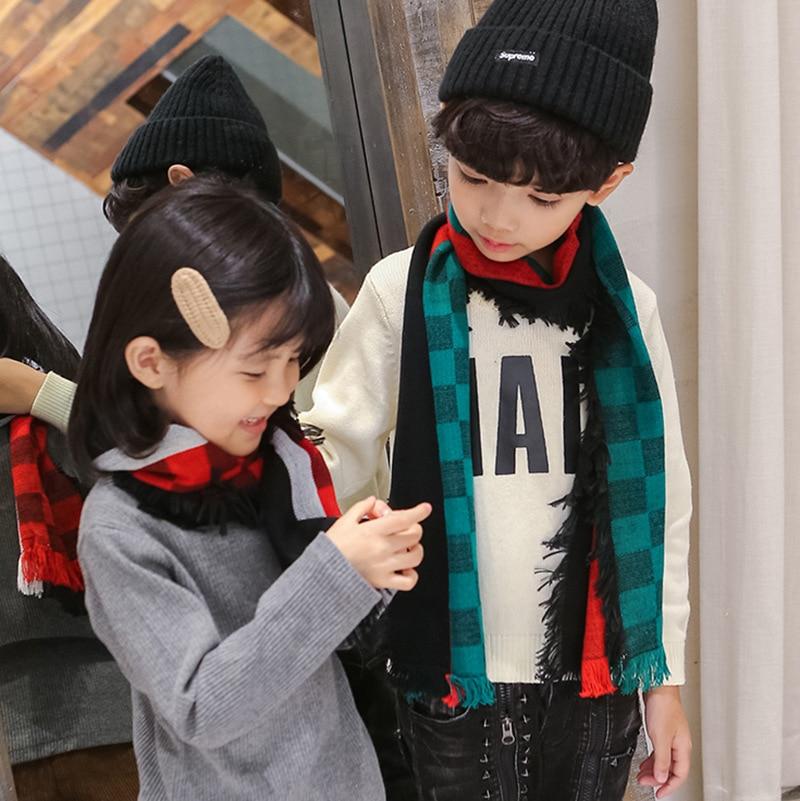 2018 Korean-style Autumn & Winter New Style CHILDREN'S Scarf Polyester Fiber Scarf Children Plaid Warming Scarf