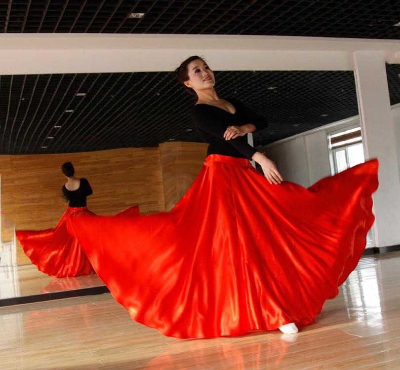 Spanish Stage Party Wear Flamengo Belly Dance Long Skirts for Women High Waist Skirt Silk Tutu Skirt Elegant Dancing Skirts