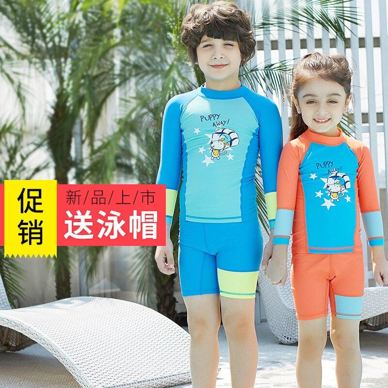 Manufacturers Wholesale New Style KID'S Swimwear BOY'S GIRL'S Swimsuit Split Type Long Sleeve Shorts Tour Bathing Suit Sun-resis
