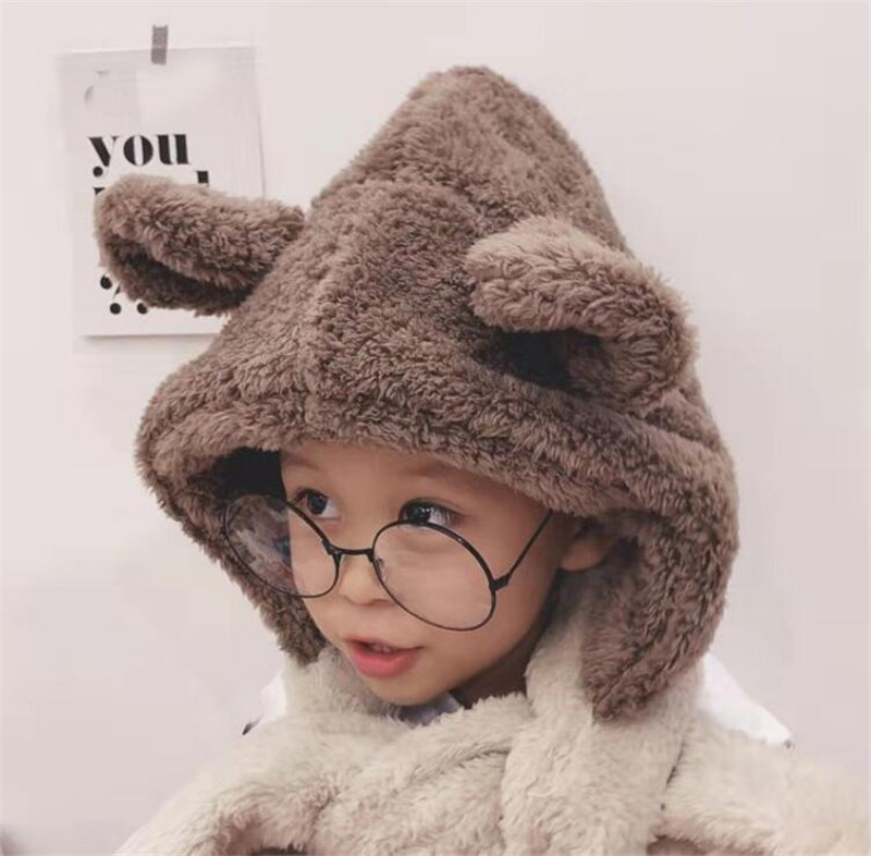 2019 Funny Animal Ear Winter Hooded Scarf Kids Plush Hat And Scarf Child Protection Ear Cap Scarves Boys Girls Accessories 3-12T