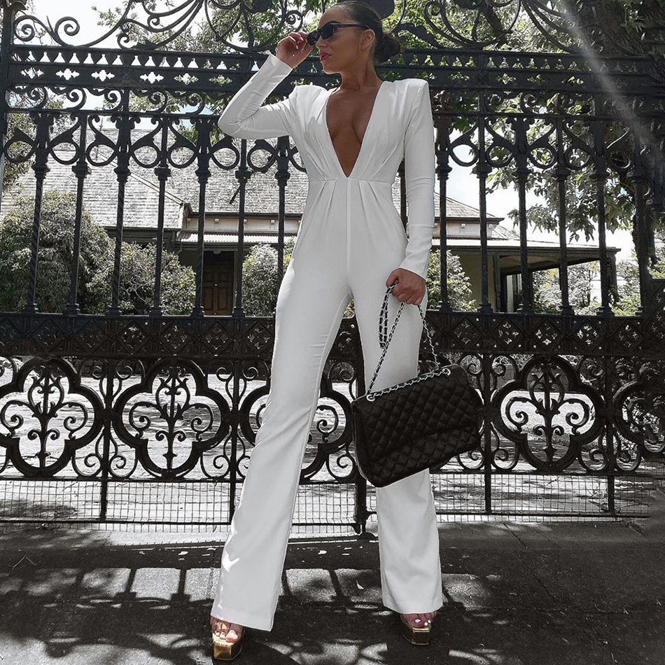 ADYCE New Summer White Celebrity Evening Party Bandage Jumpsuit Romper Sexy Backless Long Sleeve Solid Fashion Club Jumpsuits