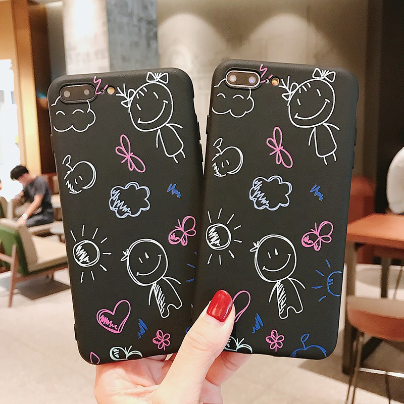 Cartoon Doodle Phone Case For Iphone 7 Plus 7 8 8Plus 6 6S 6Plus 6Splus Xs Xr Xs Max 5/5S/SE All-Inclusive Frosted Phone Case (US STOCK)