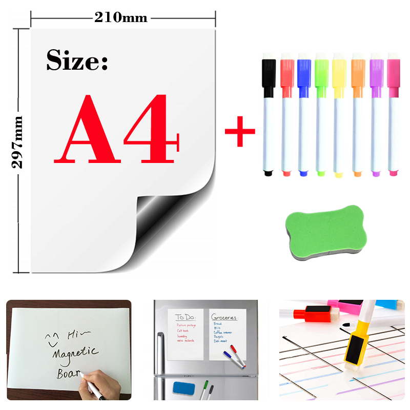 Magnetic Soft Whiteboard Refrigerator Stickers Erasable Memo Message Board Office Teaching Practice Writing Board White Board