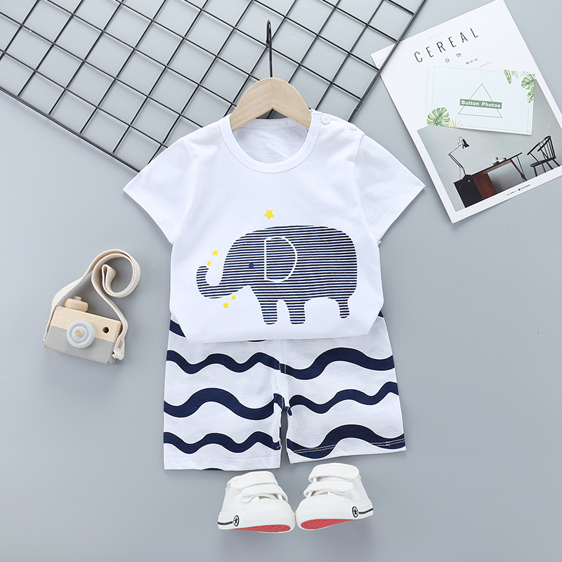 Girl Clothes Summer Toddler Kids Sets Elephant Print Short Sleeve Costume Outfit Suit Children Clothing 5 6Y Kids Clothing