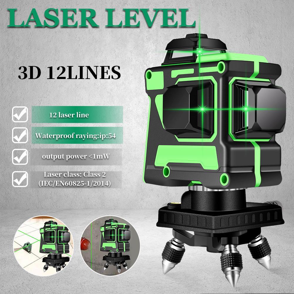 12 линий 3D зеленый лазерный нивелир самовыравнивания 360 градусов горизонтальный и вертикальный крест линий зеленый лазерный модуль