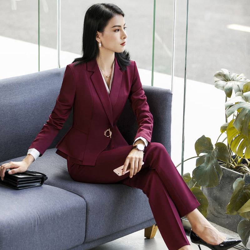 IZICFLY New Style Spring Autumn Formal Red Pants Suit Office Lady Uniform Designs For Blazer Women Suits Business Work Wear
