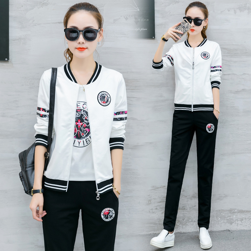 Casual Sports WOMEN'S Suit 2018 Autumn Clothing New Style Korean-style Trend Slimming Baseball Uniform Women's Spring And Summer