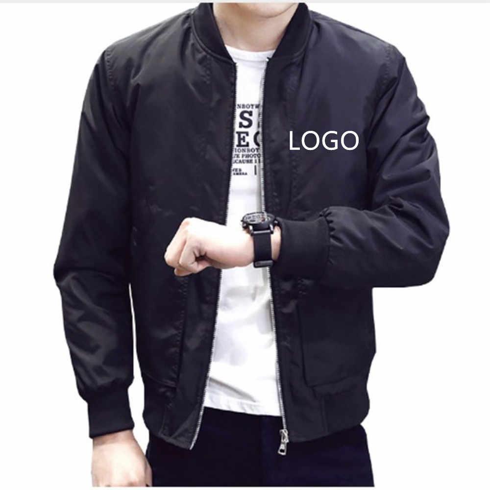 Jaqueta oem logotipo diy para homens, casual, primavera, roupas esportivas, personalizada, design próprio
