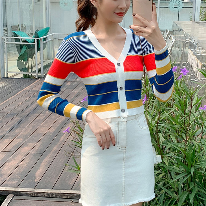 Striped Cardigan Women Ctop Top Long Sleeve Sweater V Neck Sexy Cardigan Knitting One Size Pull Femme Nouveaute 40OCT1625