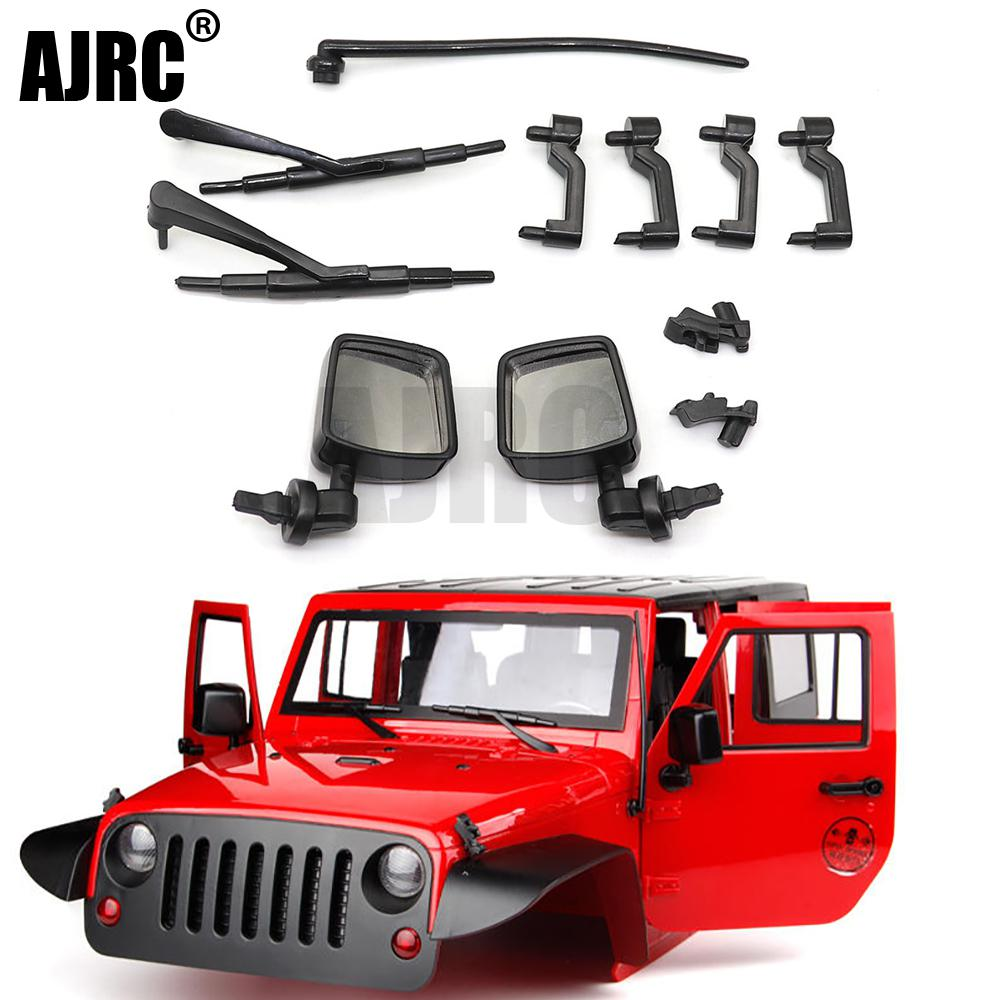 1 Set Of Soft Plastic Car Door Handles, Hood Buckles, Antennas, Rearview Mirrors For 1/10 RC  Axial Scx10 II 90046 90047 Jeep