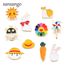 Cute Animal Plant Sun Carrot Enamel Pin Brooch Bag Clothes Lapel Pins Badge Gifts For Kids Girl Friends Cartoon Jewelry creative personality gestures alloy brooch enamel pin mini badge bag clothes jewelry gifts to friends fxm