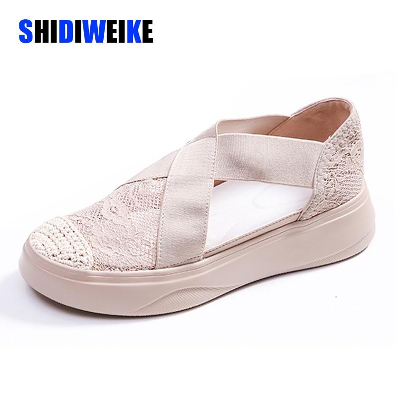Fashion Sandals Women Retro Sewing Mesh Flats Summer Shoes Woman Elastic Bandage Casual Platform Sandals 2020 Sandalias Mujer