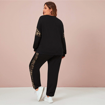 Plus Size Black Leopard Panel Sweatshirt and Joggers Set