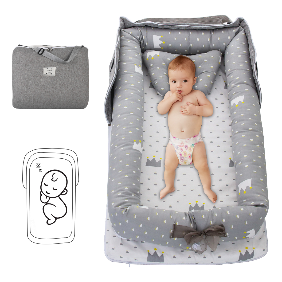 puseky Baby Bed Lounger Washable Portable Crib Baby Co Sleeping Baby Bassinet for Bedroom Travel Outdoor