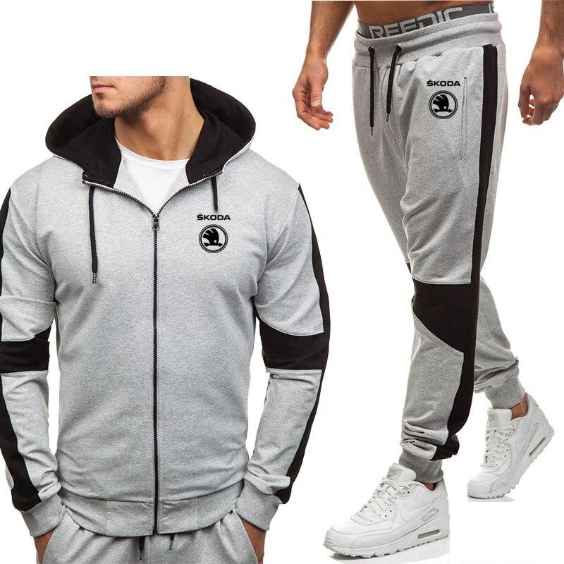 Hoodies Men Skoda Car Logo Printed New Fashion Casual Harajuku Hooded Fleece Warm Zipper Jacket Sweatshirt Sweatpants Suit 2pcs