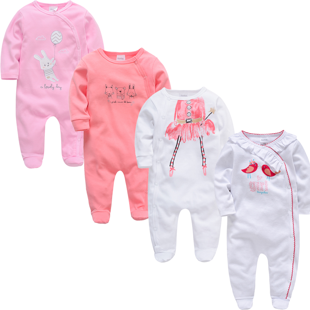 Kavkas 3 4 pcs/lot Baby Girl Rompers roupa de bebes Long Sleeve Summer Soft Cotton Boys Clothes New Born Body Bebes Clothing | Happy Baby Mama