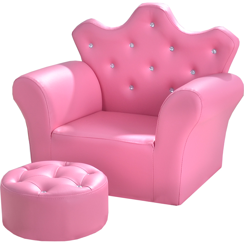 Kindergarten combination children's sofa chair Korean leather art cute baby crown girl princess small sofa WF606326