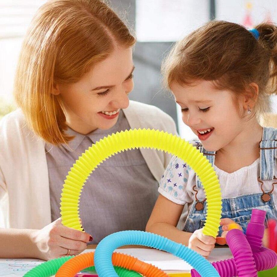 Toy Kids Fidget-Toys Tube Circle Gift Anti-Stress Sensory Funny Educational Colorful img4