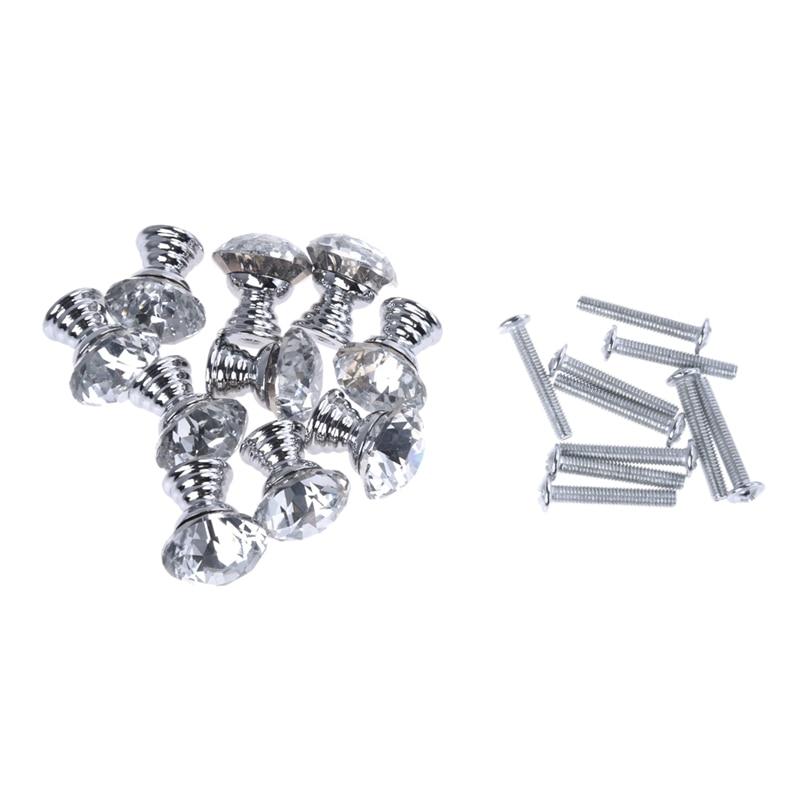 10 Pcs 20mm Crystal Glass Clear Cabinet Knob Drawer Pull Handle Kitchen Door Wardrobe Hardware