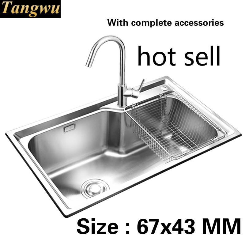 free shipping the balcony kitchen sink 0 8mm food grade 304 stainless steel standard single slot vogue hot sell size 67x43 cm