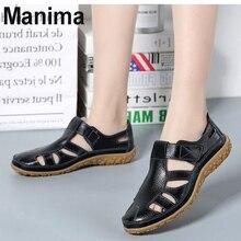 2020 new summer womens shoes leather flat heel sandals women hollow casual soft bottom beach