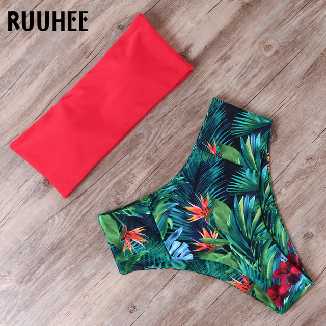 RUUHEE Bandage Bikini Swimwear Women Swimsuit High Waist Bikini Set 2019 Bathing Suit Push Up Maillot De Bain Femme Beachwear 2