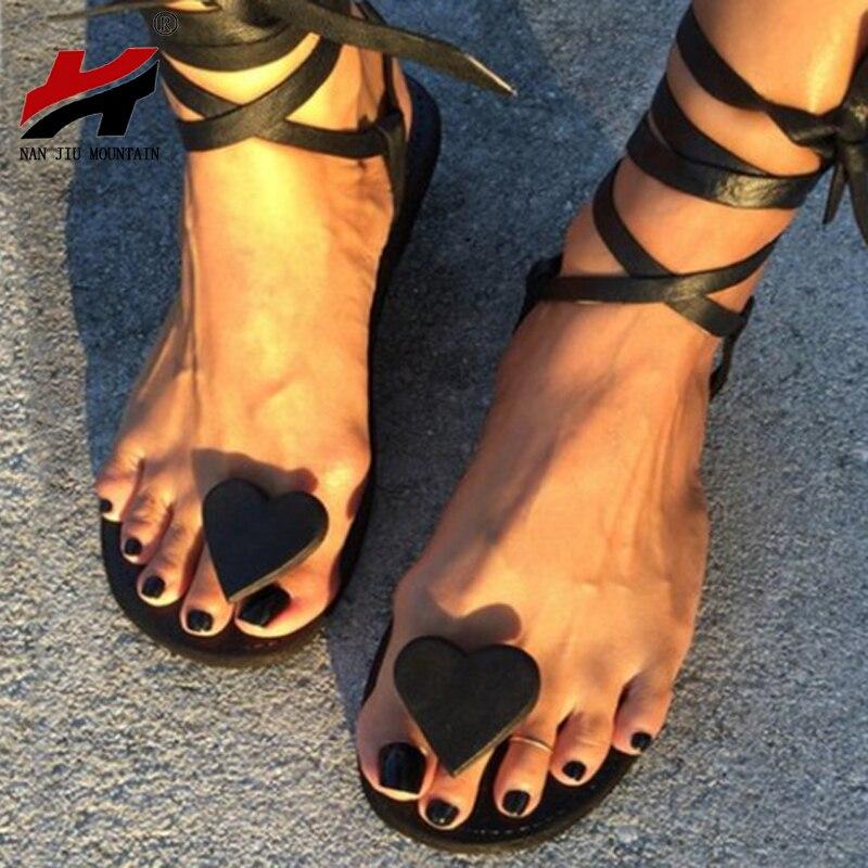 NAN JIU MOUNTAIN 2020 New Women's Sandals Flat Bottom Toe Love Ankle Strap Fashion Women's Shoes Black Lightweight Sole