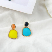 Ins Wind Earrings Korean Version of The Fashion Asymmetric Candy Hit Color S925 Silver Needle