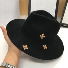 Sombrero de lana de invierno para hombre y mujer, sombrero de fieltro a la moda, con diseño de gato Panamá, unisex