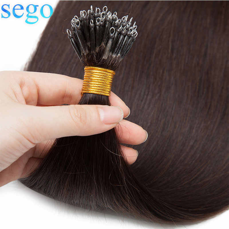 SEGO 16-20inch 50pcs 1g/s Nano Ring Hair Micro Beads Hair Extensions Machine Remy 100% Human Hair Pre-bonded Straight Brazilian