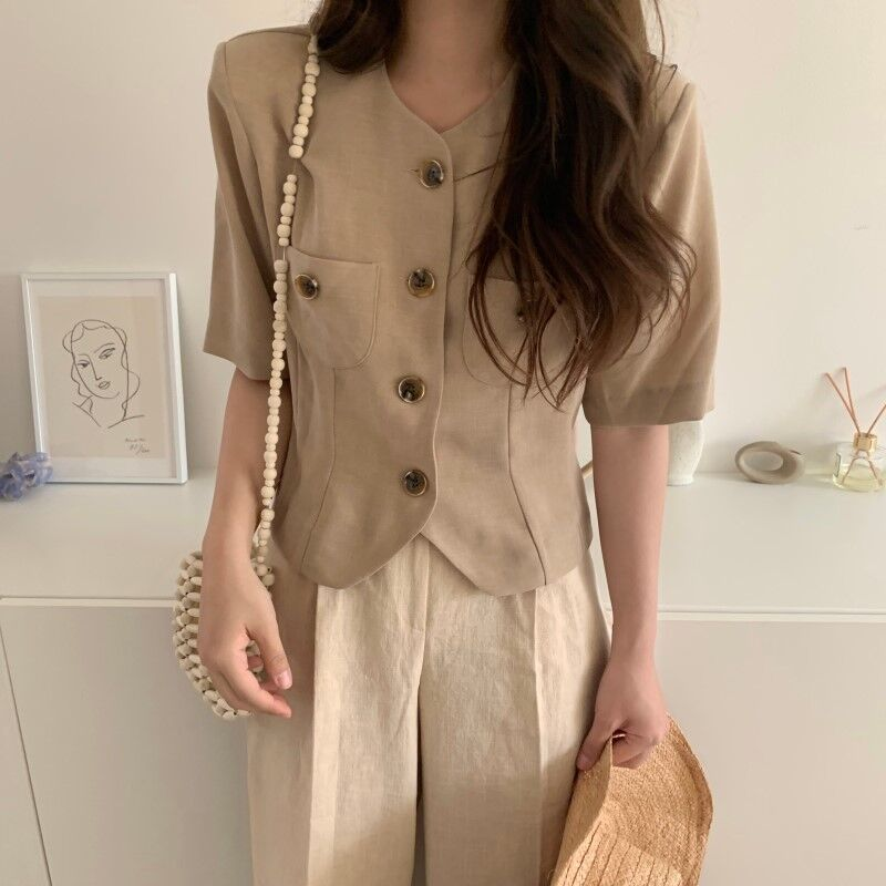 Women Summer Vintage Cotton Short Blazer Coat Jackets With Pockets Single Breasted Short Sleeve Outwear Cardigan