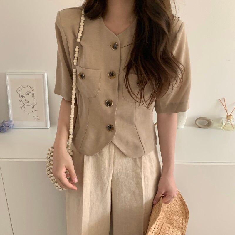 Women Summer Vintage Cotton Short Blazer Coat Jackets With Pockets Single Breasted Short Sleeve Outwear Cardigan